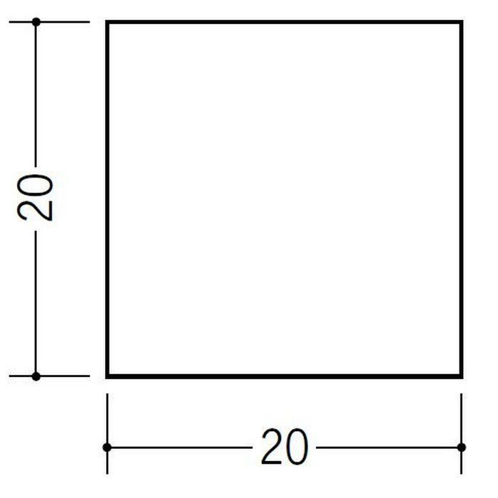 角棒・チャンネル ビニール 角棒20 ホワイト 2m  36243