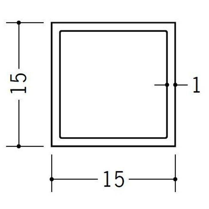 角パイプ・丸パイプ ビニール 角パイプ15 ホワイト 2m  36071