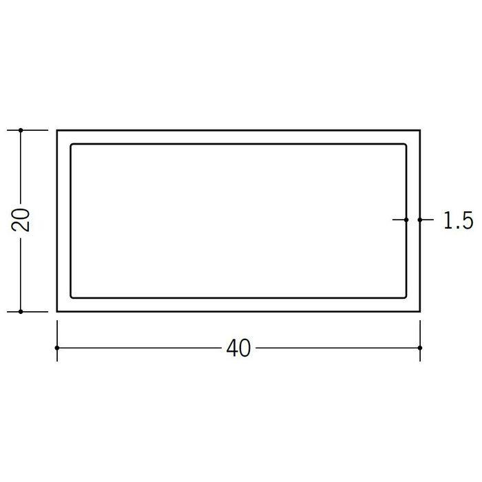 角パイプ・丸パイプ ビニール 角パイプ20×40 ホワイト 2m  36074