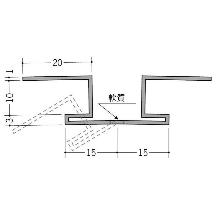カラーフリージョイナー 出入隅 ビニール カラーフリージョイナーFOL-10 ベージュ 2.5m  35233-3