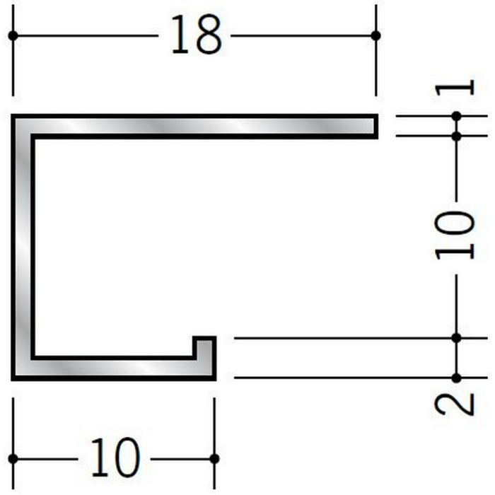 コ型見切縁 アルミ EC-9 シルバー 3m  54129