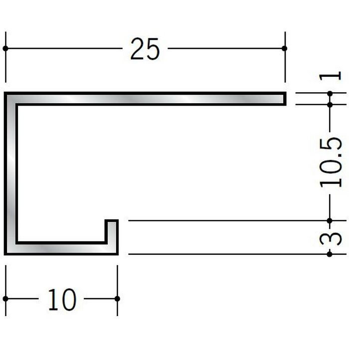 コ型見切縁 アルミ A型10.5(小) シルバー 3m  51016