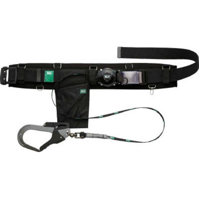 KH 補助帯付 アリールロック式 タフアルミ 自在環 安全帯 黒 HJA01K  ※在庫お確かめください