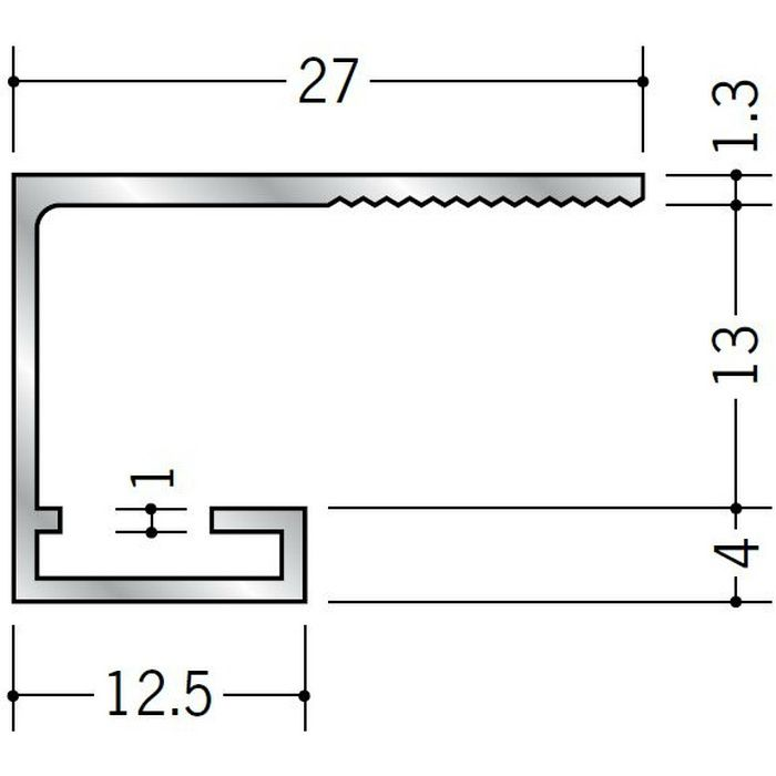 コ型見切縁 アルミ SA-13 シルバー 3m  51096