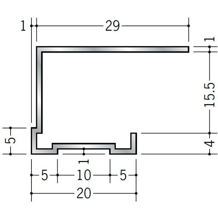 コ型見切縁 アルミ TLA-15 シルバー 3m  52275