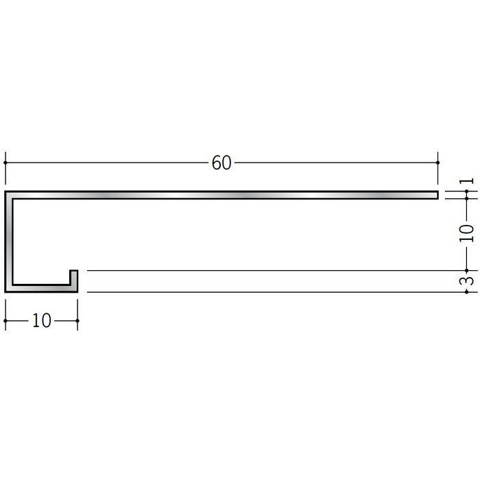 コ型見切縁 アルミ AFL-10 シルバー 3m  52068