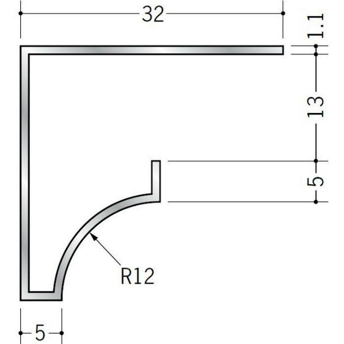 コ型見切縁 アルミ RSB-12.5 シルバー 3m  52025