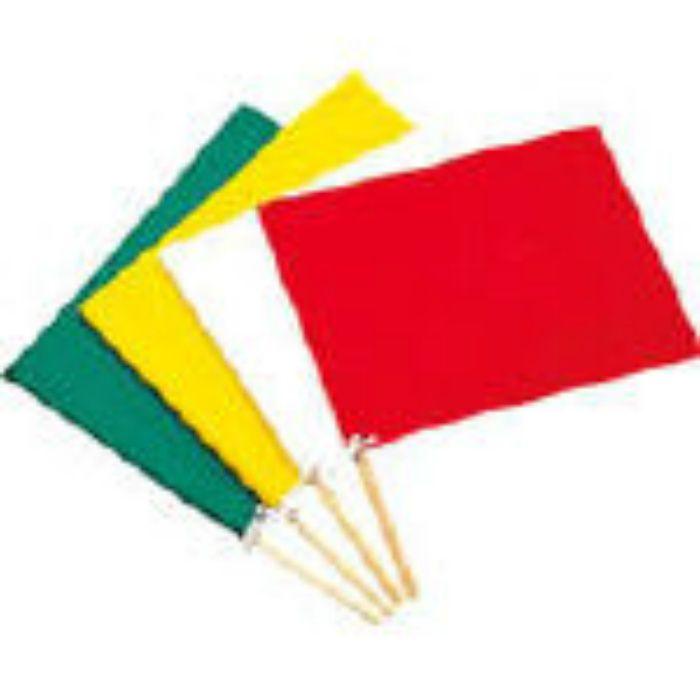緑十字 手旗 赤 300(450)×420mm 布+木製棒 245004
