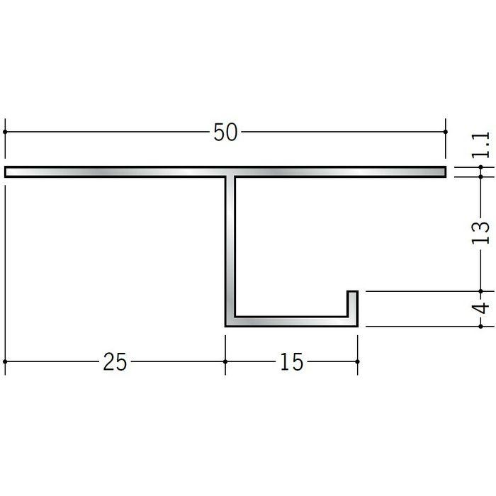 目透かし型見切縁 アルミ B型2512 シルバー 3m  50244