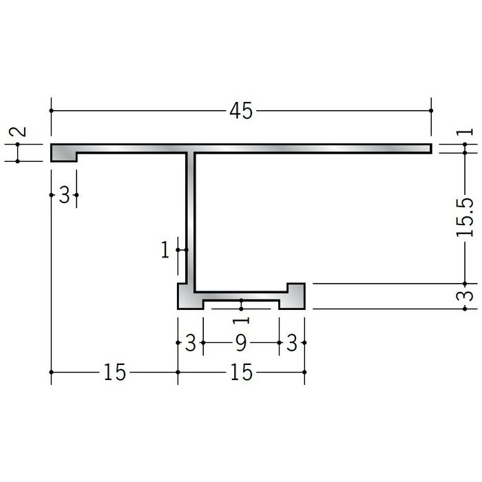 目透かし型見切縁 アルミ STB-1515 シルバー 3m  52300