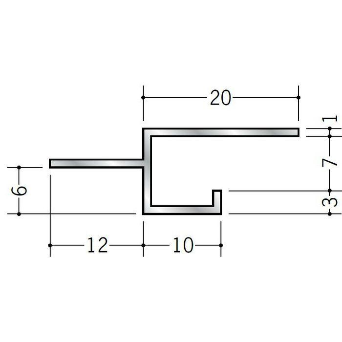 目透かし型見切縁 アルミ BMS-6.5 シルバー 3m  51106