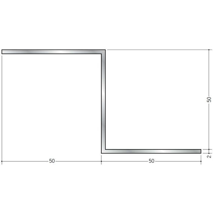 目透かし型見切縁 アルミ Zバー50Z シルバー 3m  58099