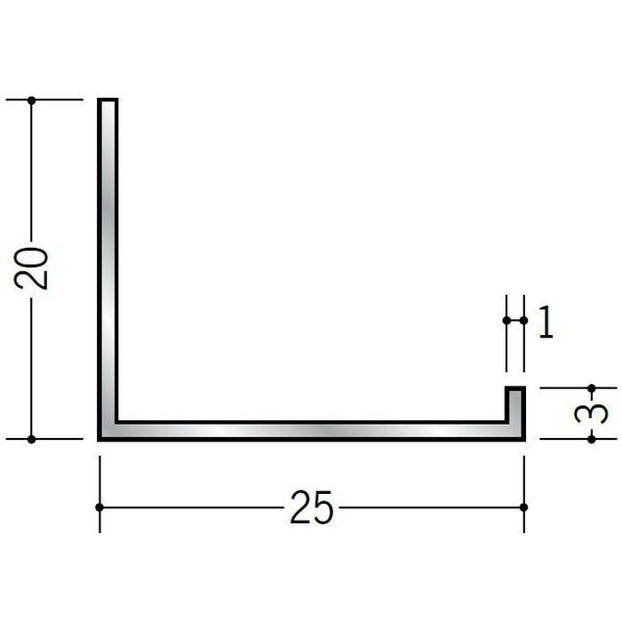 壁付け型見切縁 アルミ C型-25 シルバー 3m  52136