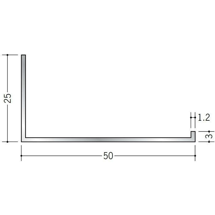 壁付け型見切縁 アルミ C型-50 シルバー 3m  52148