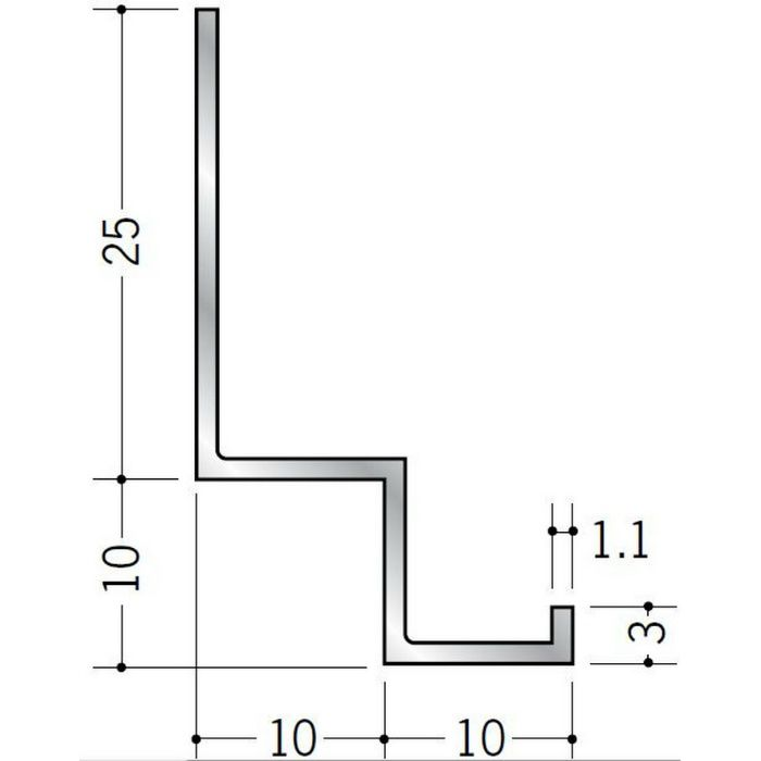 壁付け型見切縁 アルミ FL-10 シルバー 3m  52045