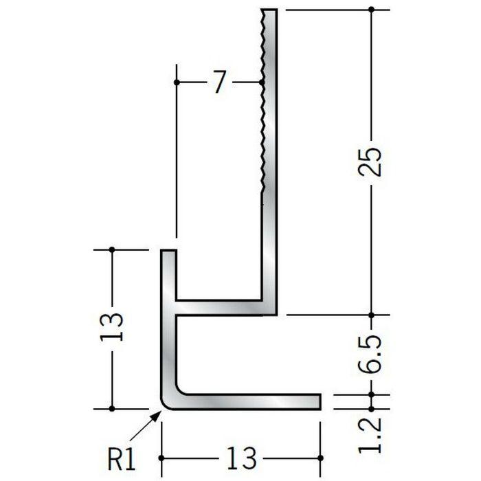 下がり壁用見切縁 アルミ D型6 シルバー 2.5m  52074