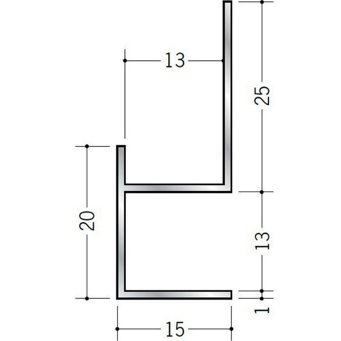 下がり壁用見切縁 アルミ D型12 シルバー 3m  52081