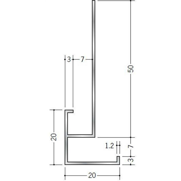 下がり壁用見切縁 アルミ D型27 シルバー 3m  52091