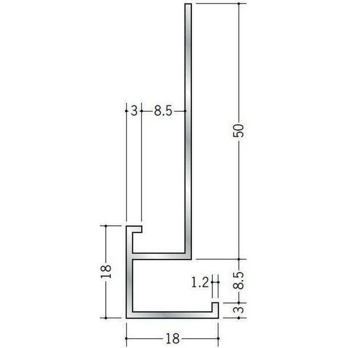 下がり壁用見切縁 アルミ D型47 シルバー 3m  53286