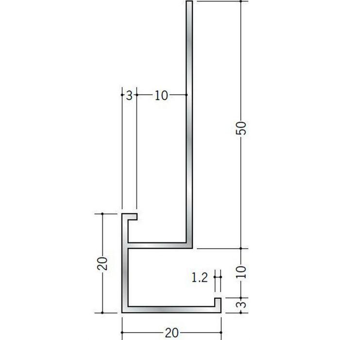 下がり壁用見切縁 アルミ D型51 シルバー 3m  52102