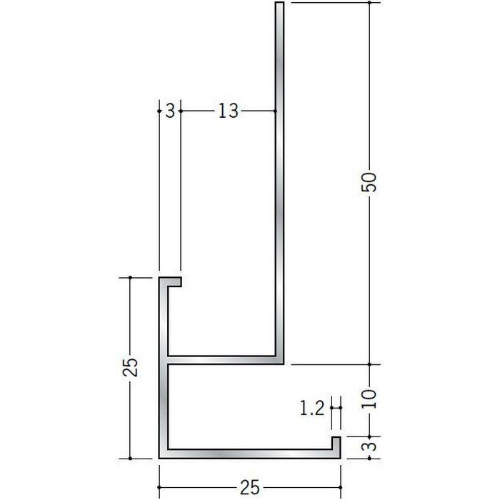 下がり壁用見切縁 アルミ D型58 シルバー 3m  52109