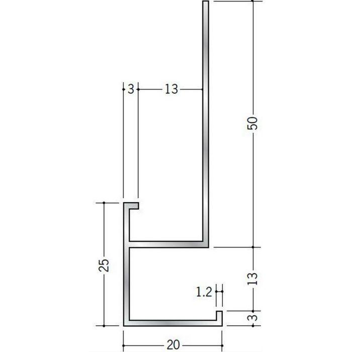 下がり壁用見切縁 アルミ D型57 シルバー 3m  52107