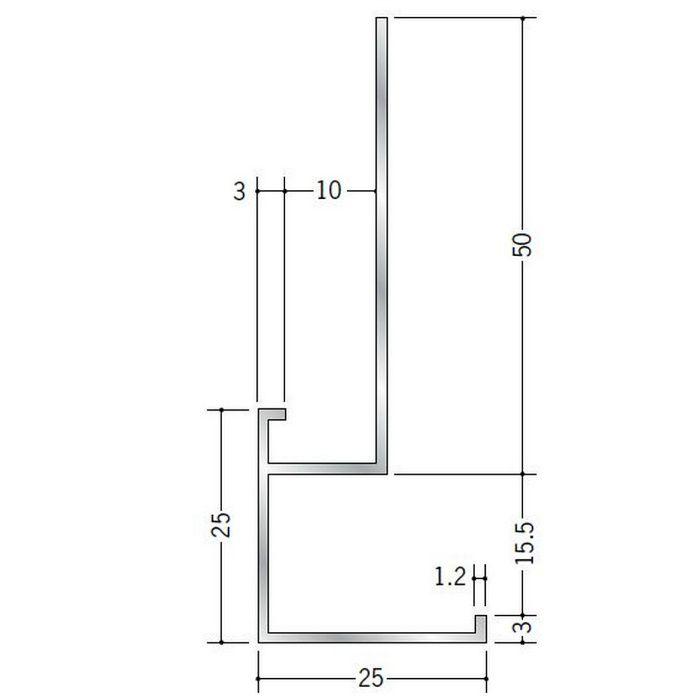 下がり壁用見切縁 アルミ D型53 シルバー 3m  52104