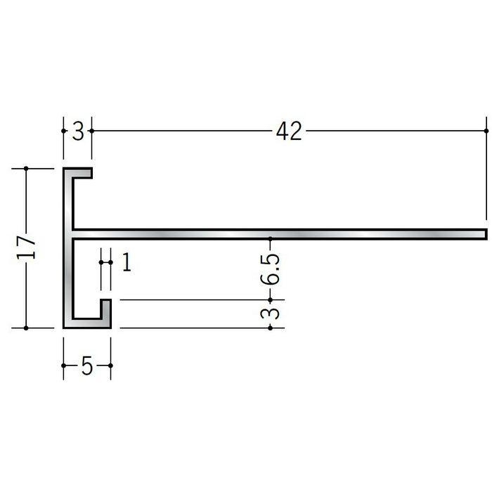 下がり壁用見切縁 アルミ D型81 シルバー 3m  52115