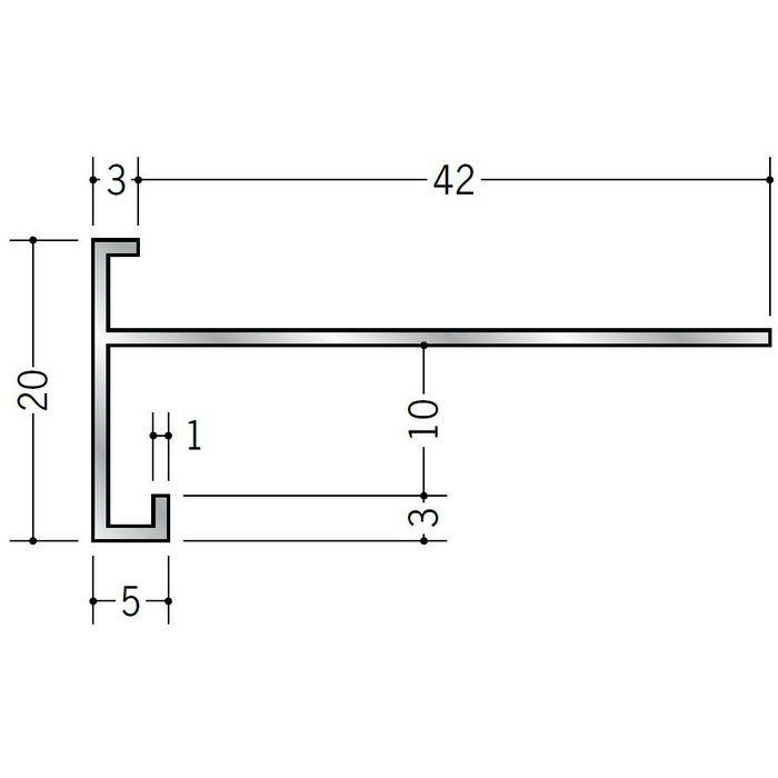 下がり壁用見切縁 アルミ D型83 シルバー 3m  52117
