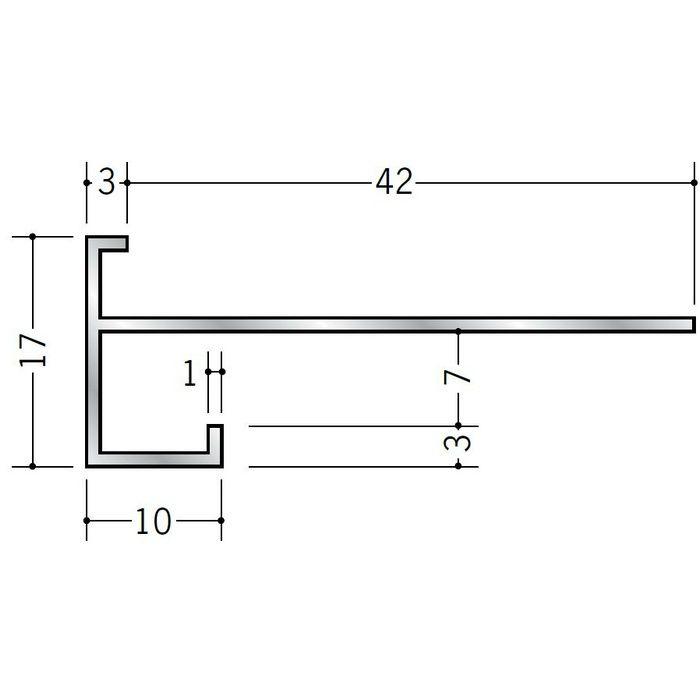 下がり壁用見切縁 アルミ D型30 シルバー 3m  52030