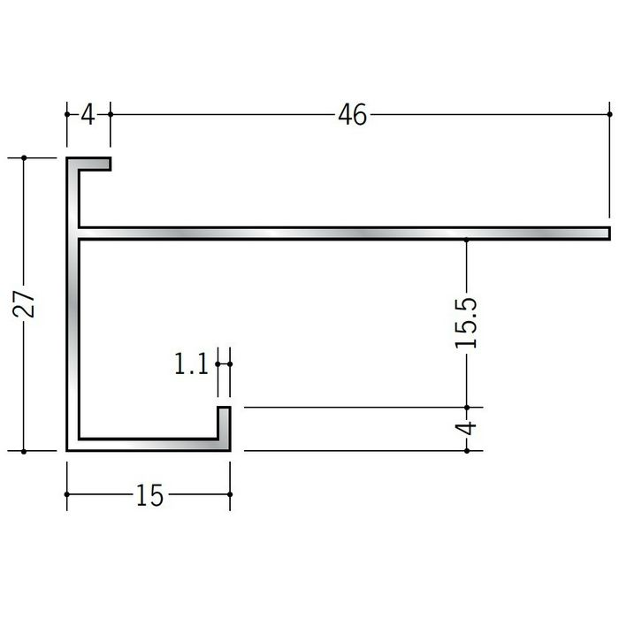 下がり壁用見切縁 アルミ D型44 シルバー 3m  52188