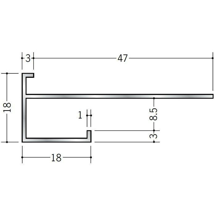 下がり壁用見切縁 アルミ D型40 シルバー 3m  52040