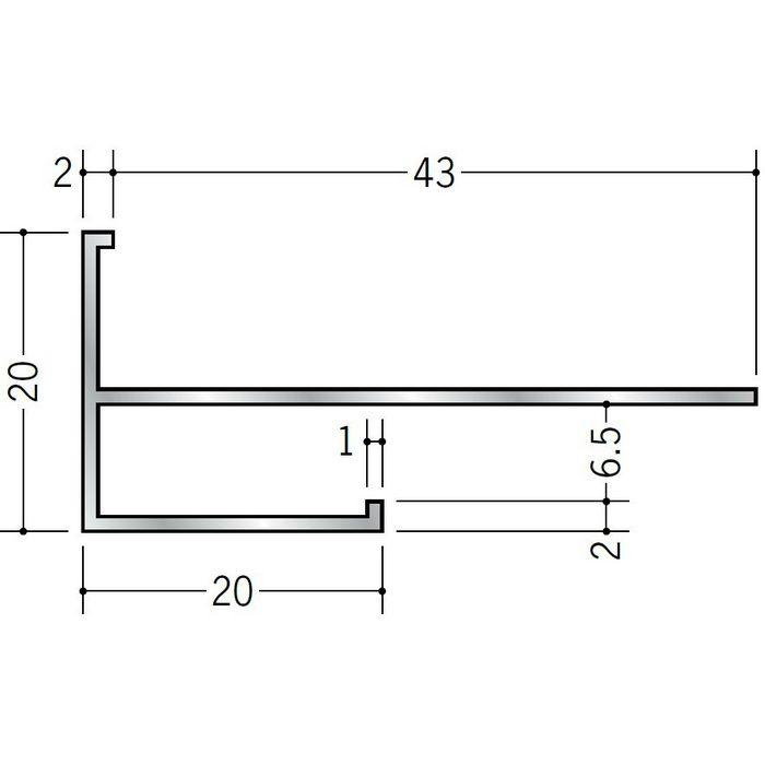 下がり壁用見切縁 アルミ D型70 シルバー 3m  52201