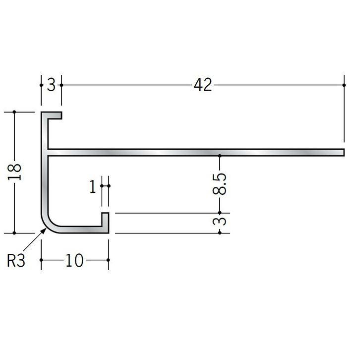 下がり壁用見切縁 アルミ D型67 シルバー 3m  59002