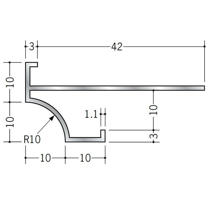 下がり壁用見切縁 アルミ D型61 シルバー 3m  52113