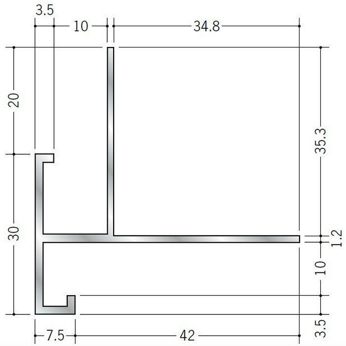 下がり壁用見切縁 アルミ D型88 シルバー 3m  52311