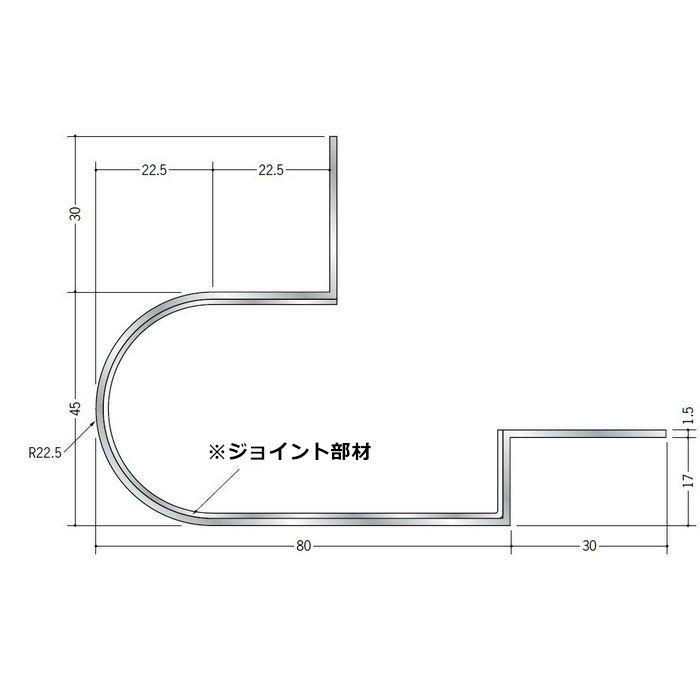 下がり壁用見切縁 アルミ DDR-200 垂直入隅 シルバー   52182