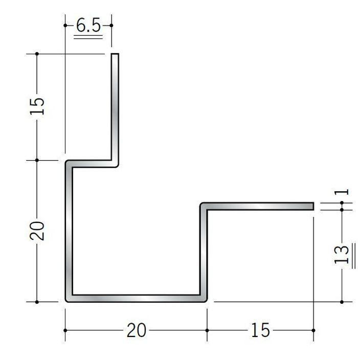 出隅ジョイナー アルミ 折曲げ貼り分け出隅6+12 シルバー 3m  50107