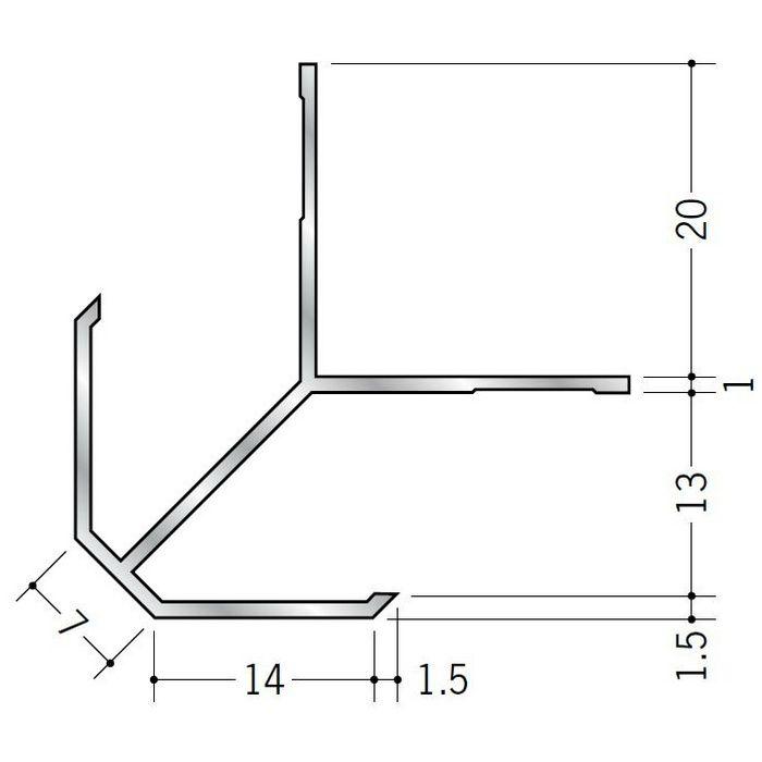 出隅ジョイナー アルミ DAm-12.5 シルバー 2.73m  53012