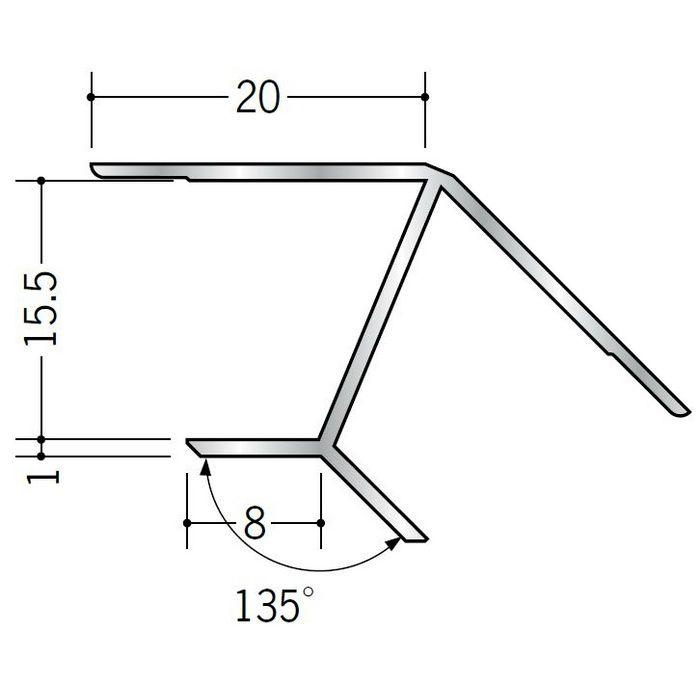 角度付ジョイナー 入隅 アルミ B135-15.5 シルバー 2.73m  52066