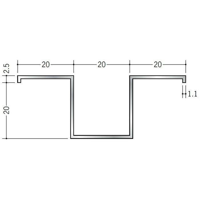 ハット型ジョイナー アルミ ハット20 シルバー 2.5m  53201