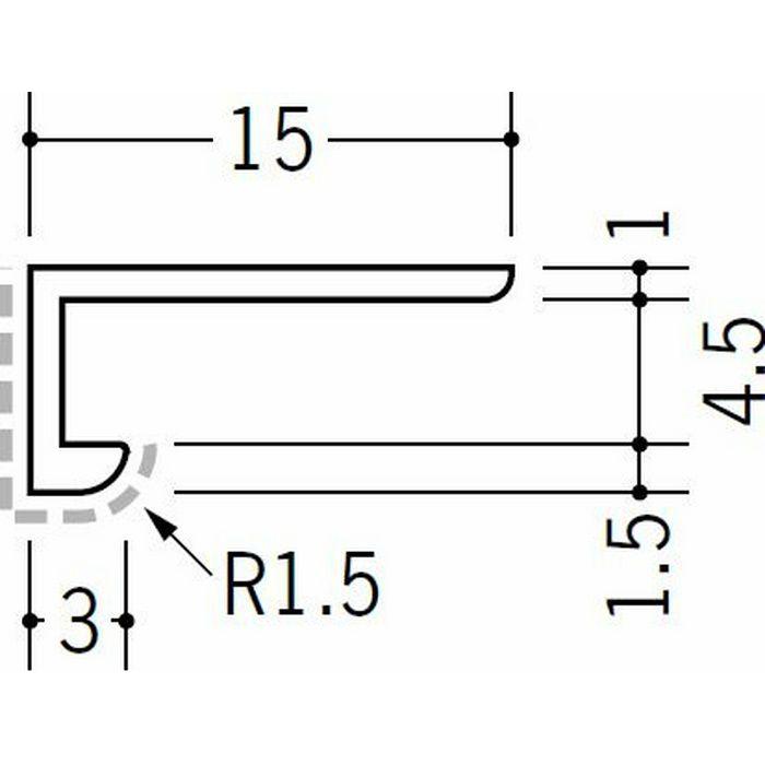 キッチンパネル用コ型ジョイナー アルミ 4BC カラー バニラホワイト 2.73m  54251-1