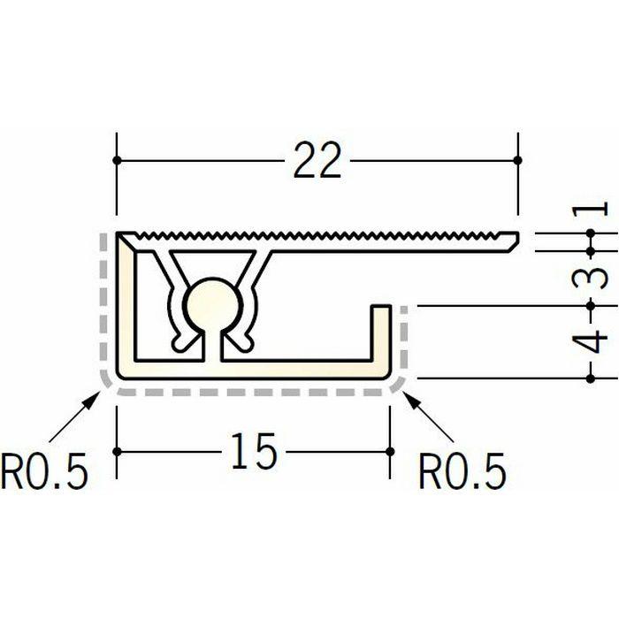 キッチンパネル用コ型ジョイナー アルミ カンゴウKNC-3 シルバー(ベース:ビニール) 2.73m  53235