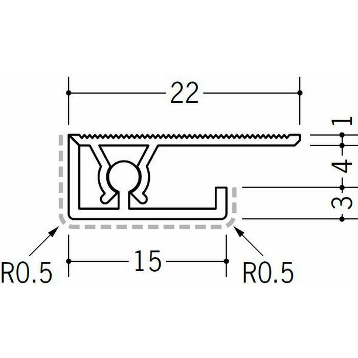 キッチンパネル用コ型ジョイナー アルミ カンゴウKNC-4 シルバー(ベース:ビニール) 2.73m  53236