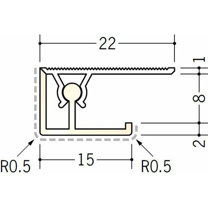 キッチンパネル用コ型ジョイナー アルミ カンゴウKNC-8 カラー バニラホワイト(ベース:ビニール) 2.73m  53245-1