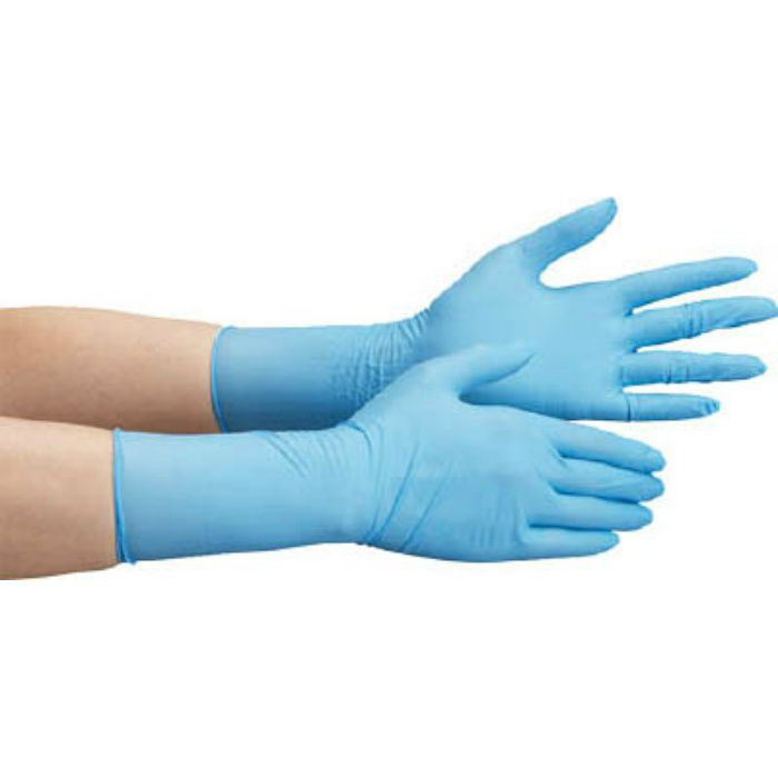 ニトリル使い捨て手袋 ロング 粉なし 100枚入 青 S VERTE756HS