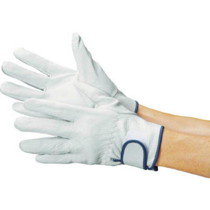 牛本革手袋 袖口マジックバンド式 717P白 LL寸 717PWLL