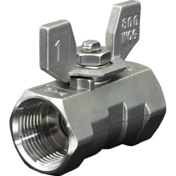 316SRVMB25A ねじ込みボールバルブ 全長71.0mm 呼び径(A)25