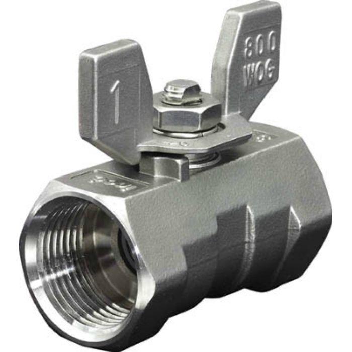 316SRVMB8A ねじ込みボールバルブ 全長39.0mm 呼び径(A)8
