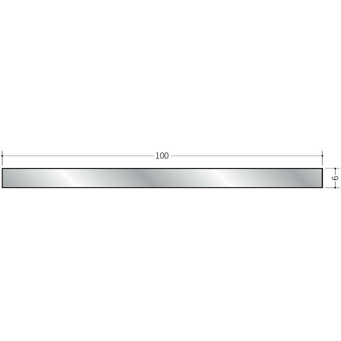 平角(フラットバー) アルミ 平角6×100 シルバー 2m(-3mm、+5mm)  56304